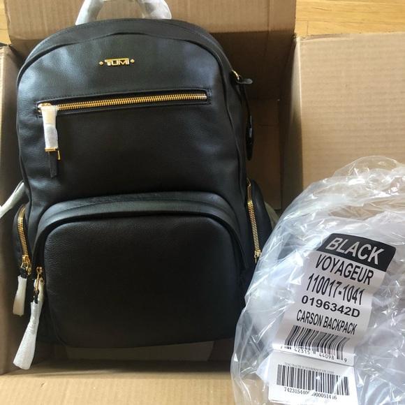 9617221d0a5 TUMI Black Voyageur Carson Leather Backpack NIB NWT